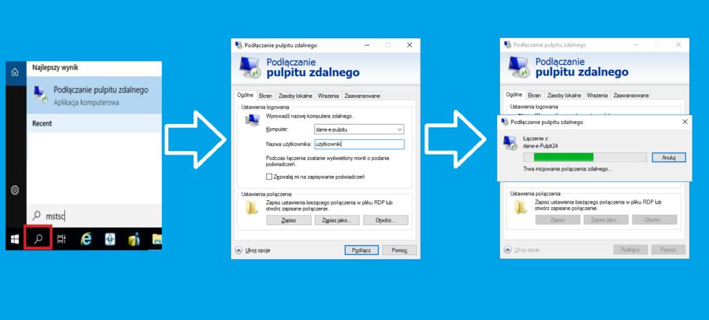 Podłączanie pulpitu zdalnego w systemie Windows.